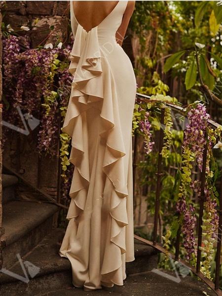 Mermaid \ Trumpet Wedding Dresses Jewel Neck Sweep \ Brush Train Lace Regular Straps Formal Plus Size_2