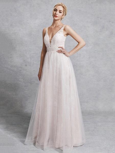 A-Line Wedding Dresses V Neck Floor Length Lace Satin Tulle Regular Straps_3