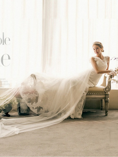 Mermaid \ Trumpet Wedding Dresses Bateau Neck Court Train Lace Tulle Cap Sleeve Plus Size_3