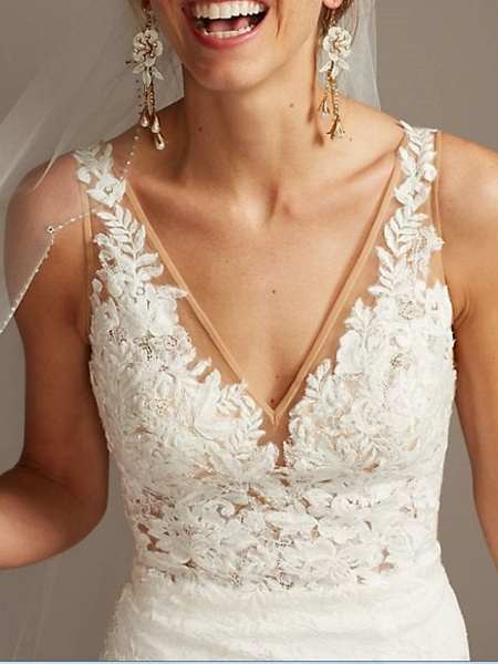 Mermaid \ Trumpet Wedding Dresses V Neck Sweep \ Brush Train Lace Tulle Sleeveless Romantic_3