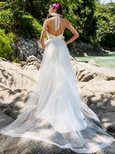 Princess A-Line Wedding Dresses Halter Neck Chapel Train Lace Organza Sleeveless Open Back_4