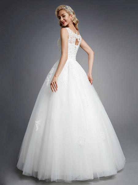 Ball Gown Wedding Dresses Jewel Neck Floor Length Lace Tulle Regular Straps Formal Casual Illusion Detail Backless_2