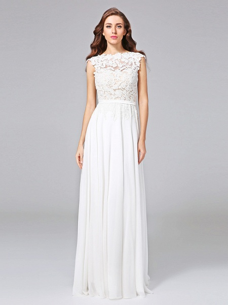 Sheath \ Column Wedding Dresses Bateau Neck Sweep \ Brush Train Chiffon Floral Lace Cap Sleeve Romantic Illusion Detail Backless_1