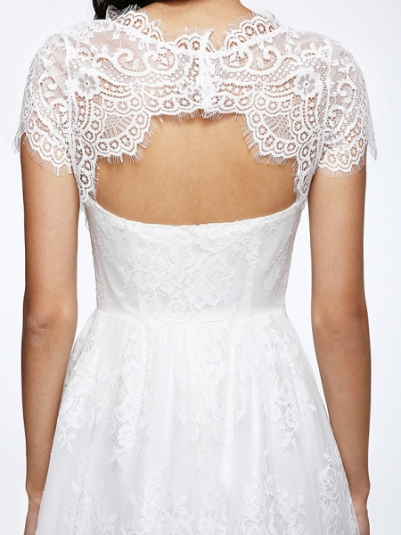 A-Line Wedding Dresses Jewel Neck Tea Length Lace Short Sleeve Simple Casual Illusion Detail Backless_10