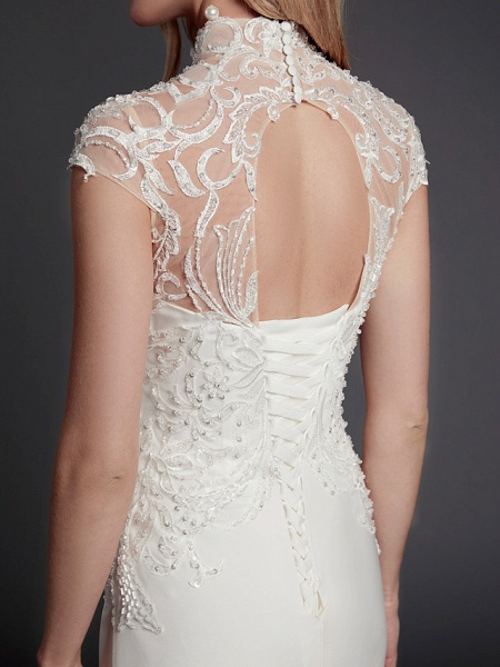 Mermaid \ Trumpet Wedding Dresses High Neck Court Train Lace Satin Sleeveless Sexy See-Through Illusion Detail Backless_9