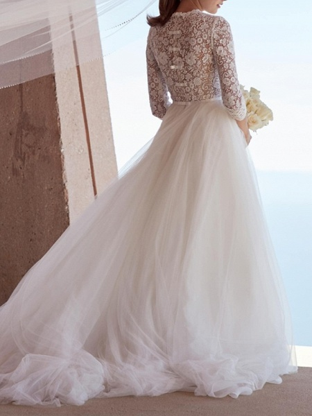 A-Line Wedding Dresses Jewel Neck Sweep \ Brush Train Lace Tulle 3\4 Length Sleeve Plus Size Illusion Sleeve_3