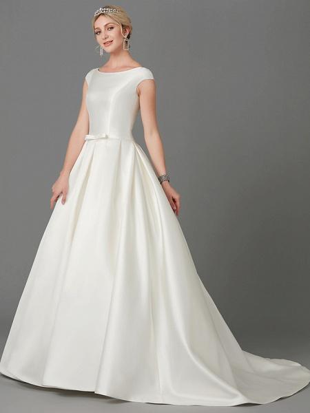 Princess Wedding Dresses Bateau Neck Court Train Satin Short Sleeve_5