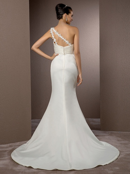 Mermaid \ Trumpet Wedding Dresses One Shoulder Court Train Satin Sleeveless_4