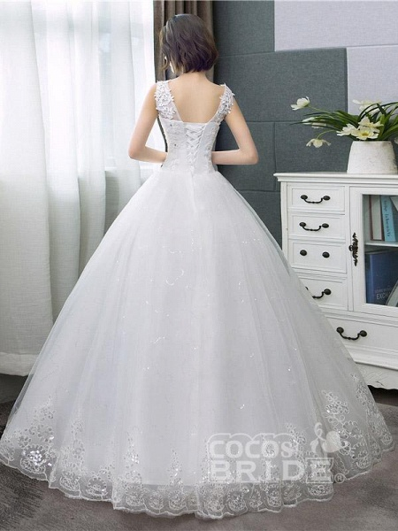 V-Neck Lace Tank Sleeveless Floral Print Ball Gown Wedding Dress_4