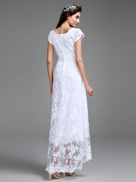 Sheath \ Column Wedding Dresses Jewel Neck Asymmetrical All Over Lace Cap Sleeve Casual Little White Dress_2