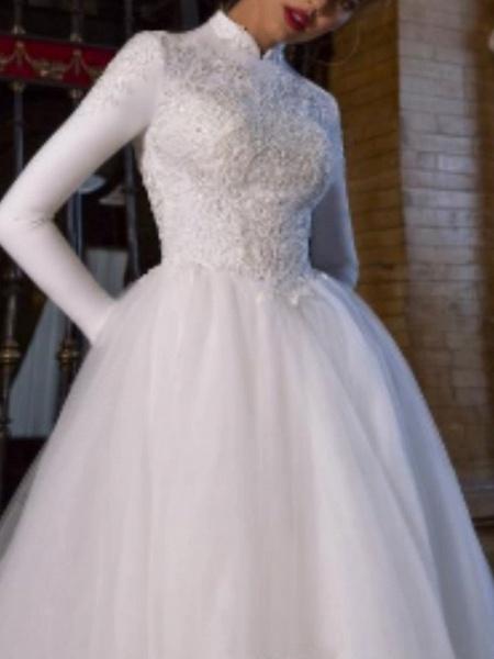 A-Line Wedding Dresses High Neck Court Train Lace Satin Tulle Long Sleeve Vintage Plus Size_2