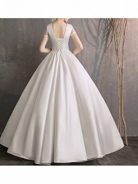 Ball Gown Wedding Dresses Jewel Neck Floor Length Satin Tulle Short Sleeve Simple Plus Size Elegant_2
