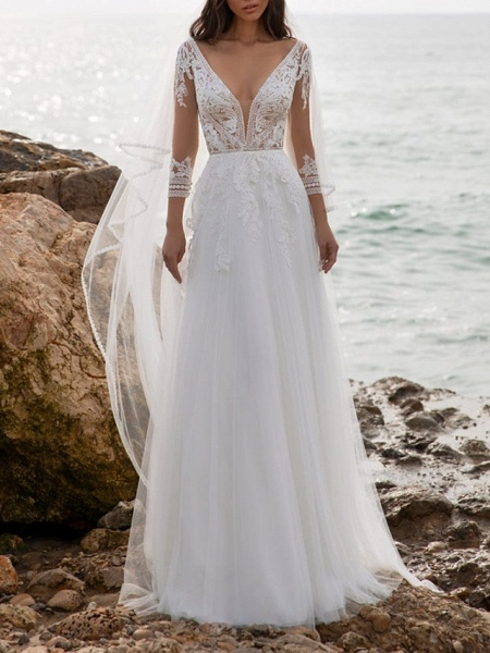 A-Line Wedding Dresses V Neck Sweep \ Brush Train Tulle 3\4 Length Sleeve Beach Illusion Sleeve_1