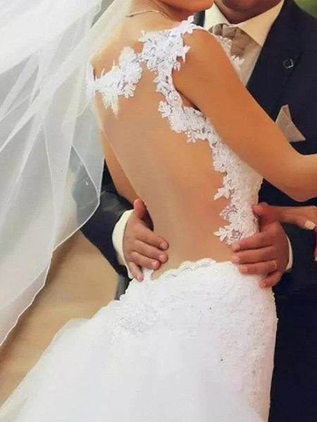 Mermaid \ Trumpet Wedding Dresses Spaghetti Strap Court Train Polyester Sleeveless Country Plus Size_3