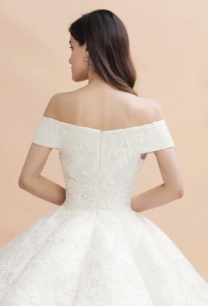 Elegant Off-the-shoulder Appliques Ball Gown Wedding Dresses_5