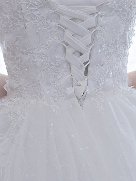 Ball Gown Wedding Dresses Scoop Neck Floor Length Satin Lace Over Tulle Half Sleeve Simple Backless_9