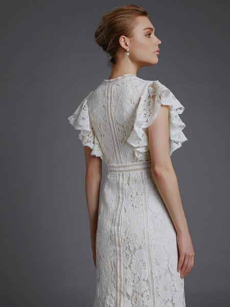 A-Line V Neck Sweep \ Brush Train Lace Sleeveless Boho Wedding Dresses_7
