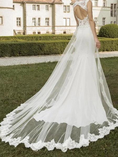 Mermaid \ Trumpet Wedding Dresses V Neck Sweep \ Brush Train Satin Tulle Sleeveless Formal_2