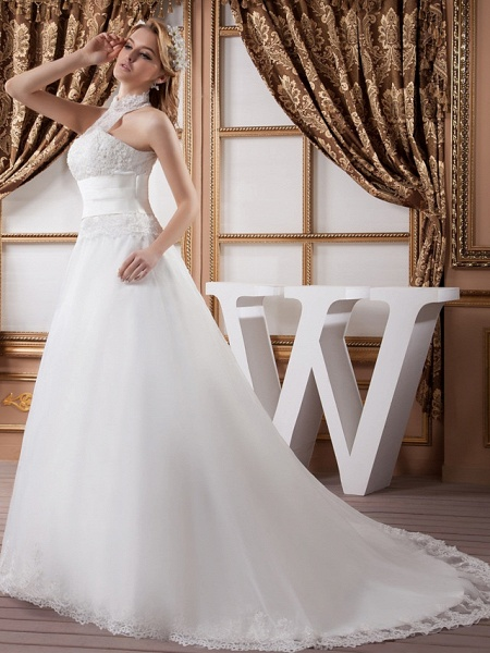 A-Line High Neck Court Train Lace Satin Tulle Regular Straps Wedding Dresses_3