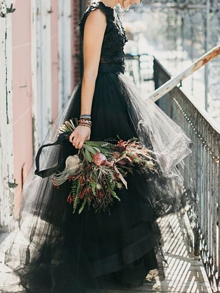 A-Line Wedding Dresses Jewel Neck Floor Length Polyester Sleeveless Formal Black Modern_2