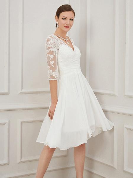 A-Line Wedding Dresses V Neck Knee Length Chiffon Lace Half Sleeve Formal Plus Size Illusion Sleeve_3