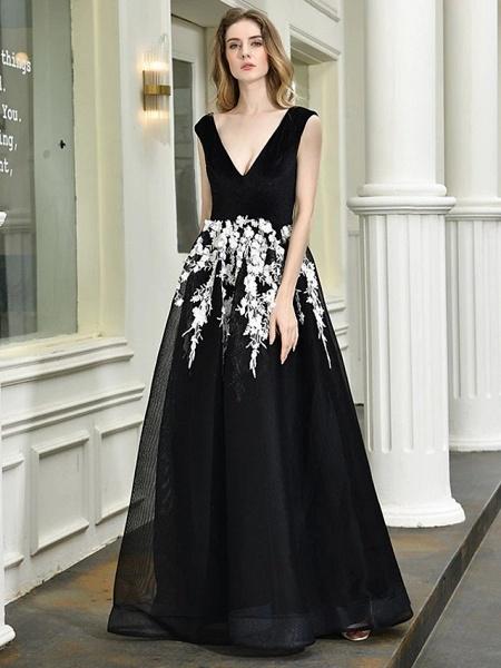A-Line Wedding Dresses V Neck Floor Length Lace Tulle Regular Straps Sexy Black Modern_6