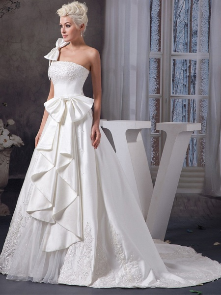 A-Line One Shoulder Court Train Lace Organza Satin Spaghetti Strap Wedding Dresses_2