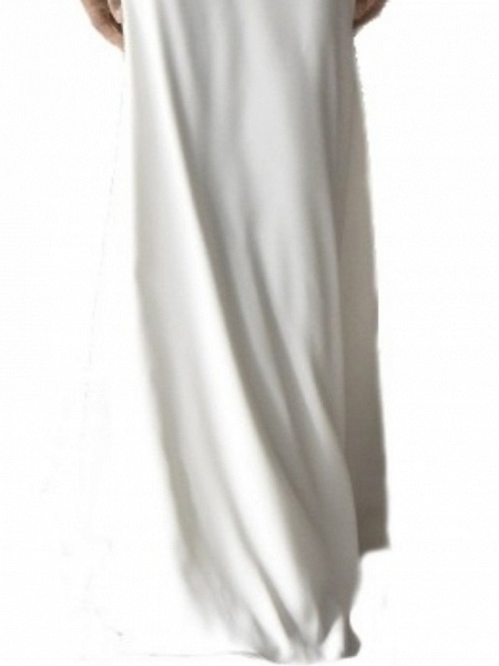 Mermaid \ Trumpet Wedding Dresses Off Shoulder Sweep \ Brush Train Chiffon Over Satin Short Sleeve Beach_2