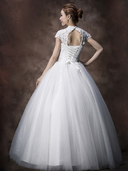 Ball Gown A-Line Wedding Dresses High Neck Floor Length Lace Tulle Cap Sleeve_2