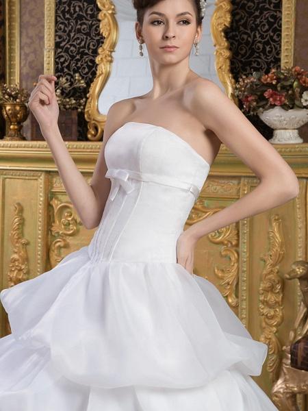 Ball Gown Strapless Court Train Organza Satin Strapless Wedding Dresses_4