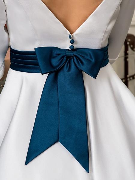 A-Line Wedding Dresses Bateau Neck Knee Length Satin 3\4 Length Sleeve Simple Casual Vintage Plus Size Cute_8