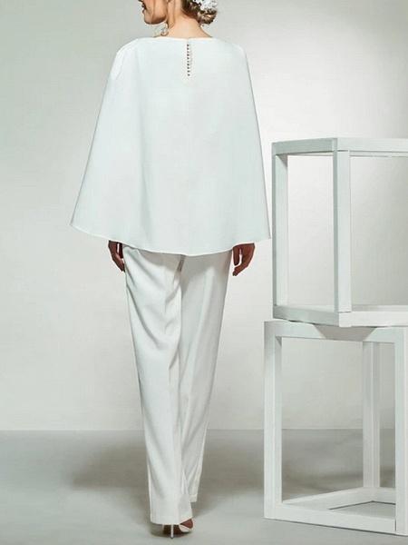 Jumpsuits Wedding Dresses Bateau Neck Floor Length Lace Satin Long Sleeve Romantic Plus Size Modern_3