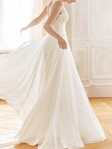 A-Line Wedding Dresses V Neck Sweep \ Brush Train Chiffon Lace Sleeveless Vintage Sexy Wedding Dress in Color See-Through Backless_2