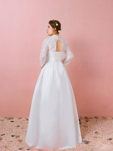 A-Line Wedding Dresses High Neck Floor Length Lace Satin Long Sleeve Formal Simple Plus Size_3
