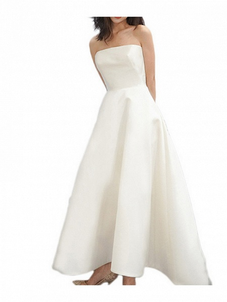 A-Line Wedding Dresses Strapless Sweep \ Brush Train Satin Strapless Formal Simple Vintage Plus Size 1950s_3