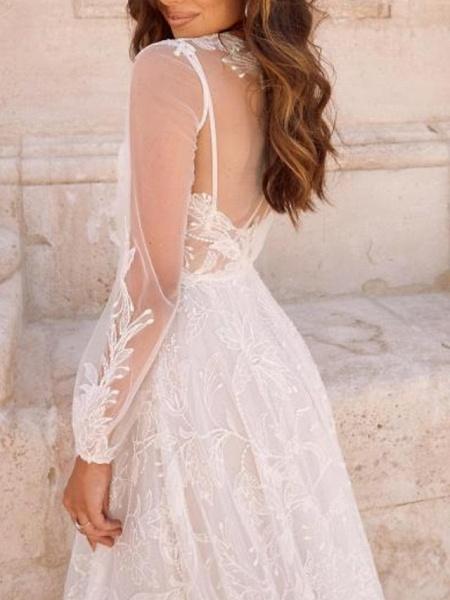 A-Line Wedding Dresses V Neck Court Train Sweep \ Brush Train Chiffon Tulle Long Sleeve Boho Plus Size_2
