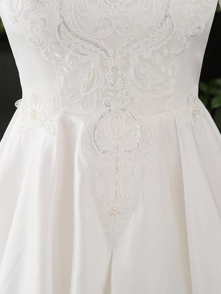 A-Line Wedding Dresses Scoop Neck Floor Length Satin Half Sleeve Formal Elegant_6