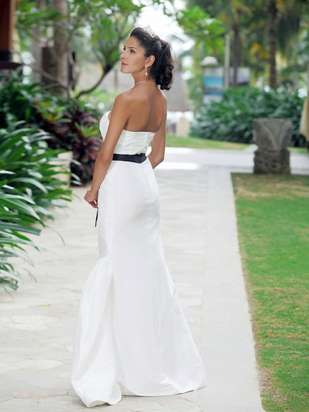 Mermaid \ Trumpet Wedding Dresses Strapless Sweetheart Neckline Floor Length Taffeta Sleeveless Wedding Dress in Color_5