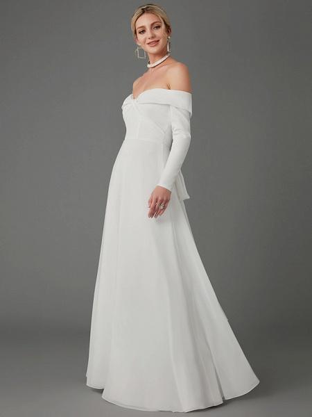 A-Line Wedding Dresses Off Shoulder Chapel Train Chiffon Tulle Long Sleeve Sexy_8