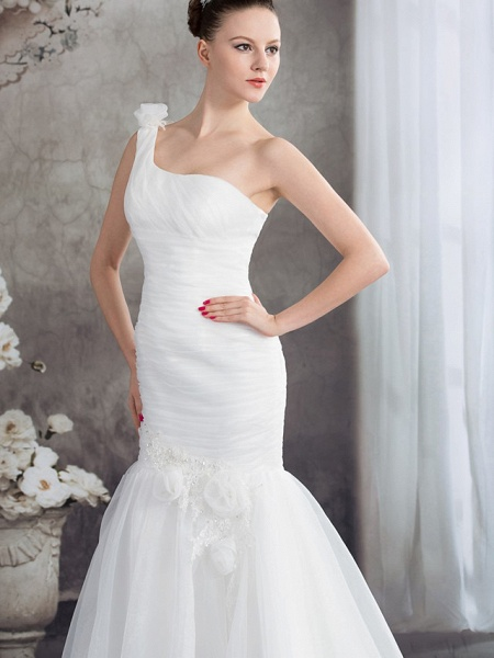 Mermaid \ Trumpet One Shoulder Court Train Organza Spaghetti Strap Wedding Dresses_4
