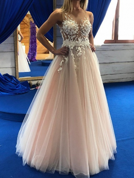 A-Line Wedding Dresses Jewel Neck Floor Length Lace Tulle Sleeveless Sexy Wedding Dress in Color See-Through_1