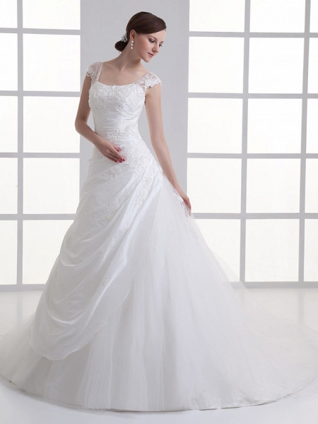 A-Line Square Neck Court Train Taffeta Tulle Regular Straps Wedding Dresses_2