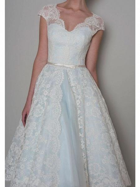 A-Line Wedding Dresses Sweetheart Neckline Knee Length Lace Satin Sleeveless Vintage 1950s Cape_3