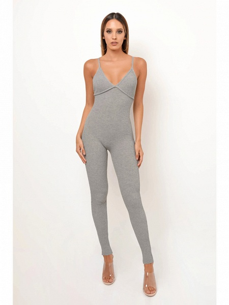 Women's Basic Khaki Gray Jumpsuit_2