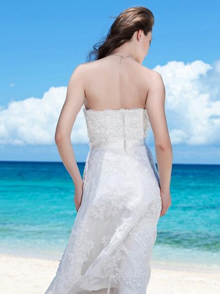 Sheath \ Column Wedding Dresses Strapless Tea Length Organza Sleeveless Little White Dress_6