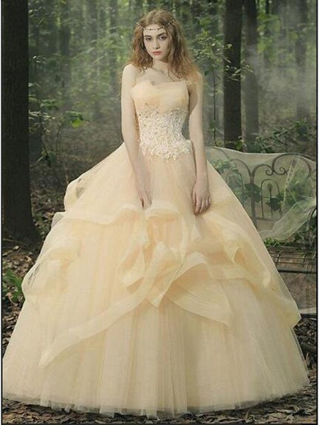 Ball Gown Wedding Dresses Strapless Floor Length Lace Tulle Strapless Sexy Red_7