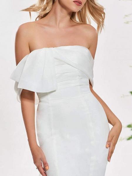 Mermaid \ Trumpet Wedding Dresses Off Shoulder Sweep \ Brush Train Organza Satin Sleeveless Sexy Backless_3