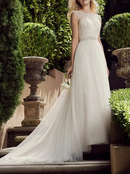 A-Line Wedding Dresses Jewel Neck Court Train Tulle Polyester Sleeveless Country Plus Size_1