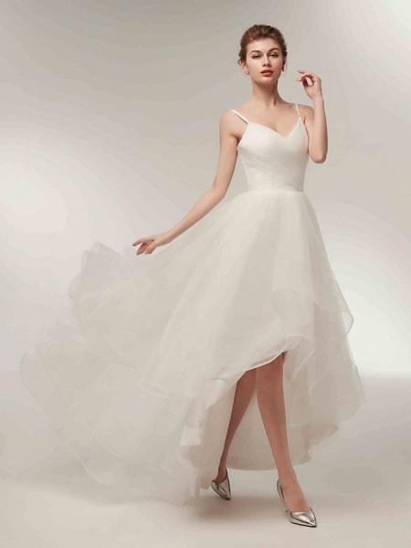 A-Line Wedding Dresses V Neck Asymmetrical Tulle Spaghetti Strap Simple Casual Little White Dress_5