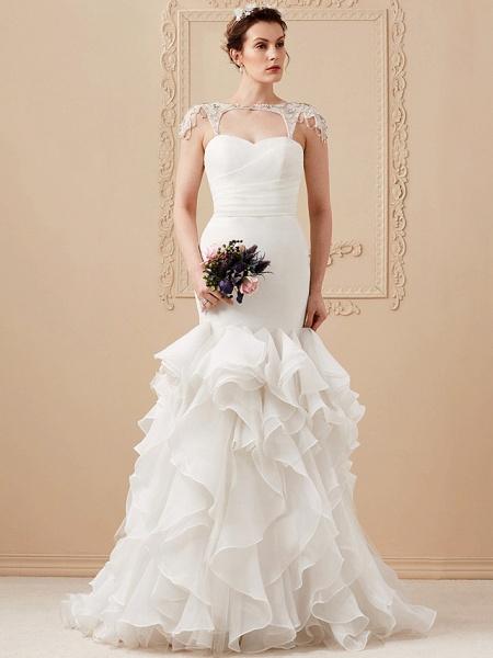 Mermaid \ Trumpet Wedding Dresses Sweetheart Neckline Sweep \ Brush Train Organza Tulle Cap Sleeve Formal Separate Bodies_6